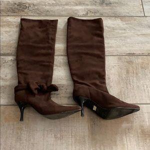 Brown suade High heels boots
